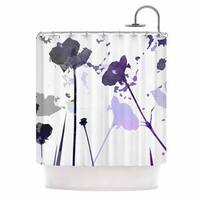 KESS InHouse Alison Coxon Poppies Indigo Purple Black Shower Curtain (69x70)