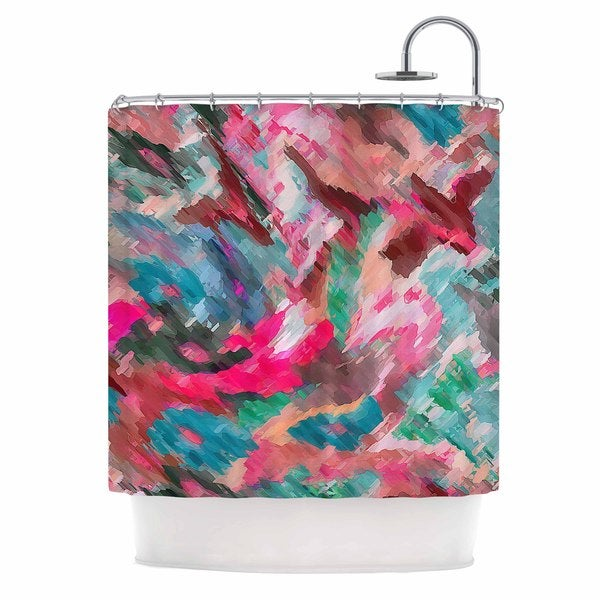 KESS InHouse Alison Coxon Giverny Pink Teal Peach Shower Curtain (69x70)