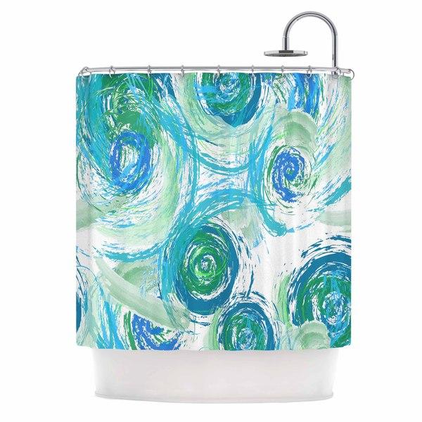 KESS InHouse Alison Coxon Sophia Blue Green Blue Shower Curtain (69x70)