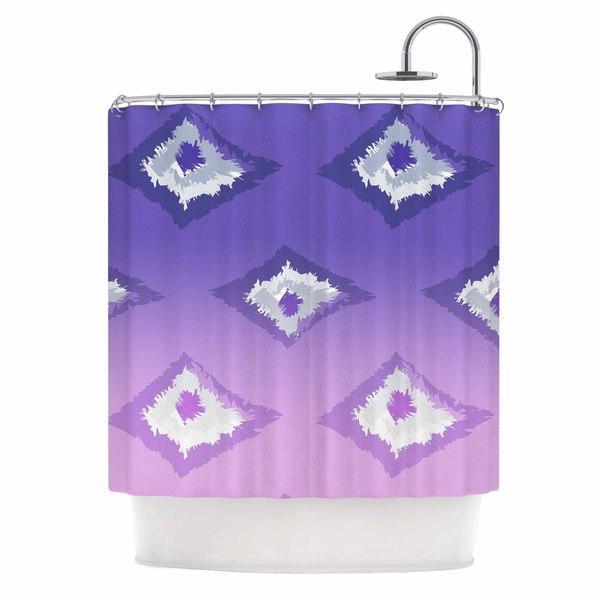 KESS InHouse Alison Coxon Purple Ombre Ikat Lavender White Shower Curtain 69x70
