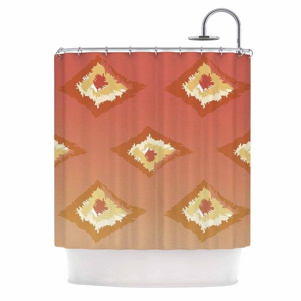 KESS InHouse Alison Coxon Coral Ombre Ikat Orange Yellow Shower Curtain (69x70)