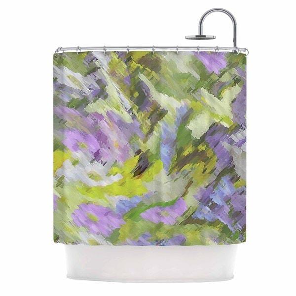 KESS InHouse Alison Coxon Giverny Lilac Yellow Pattern Shower Curtain (69x70)