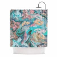 KESS InHouse Alison Coxon Giverny Blue Teal Abstract Shower Curtain (69x70)