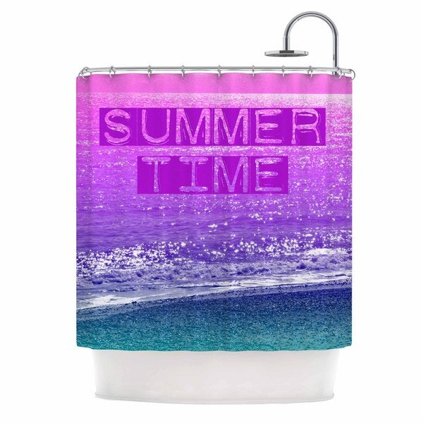 KESS InHouse Alison Coxon Summer Time Pink Typography Shower Curtain (69x70)