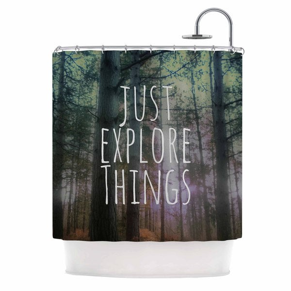 KESS InHouse Alison Coxon Just Explore Things Green Photography Shower Curtain (69x70)