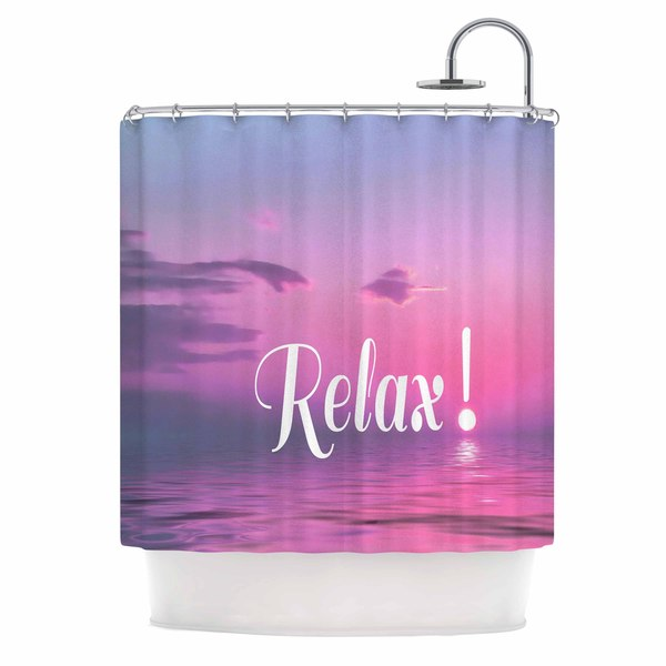 KESS InHouse Alison Coxon Relax Pink Typography Shower Curtain (69x70)