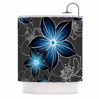 KESS InHouse Alison Coxon Charcoal And Cobalt Gray Blue Shower Curtain (69x70)