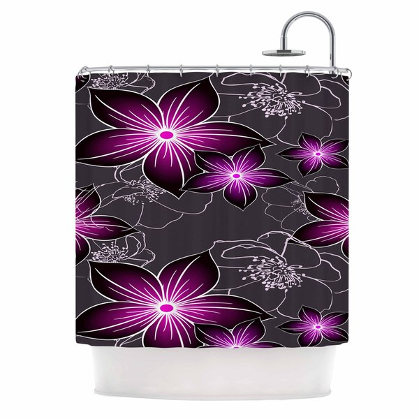 KESS InHouse Alison Coxon Charcoal And Amthyst Gray Purple Shower Curtain (69x70)