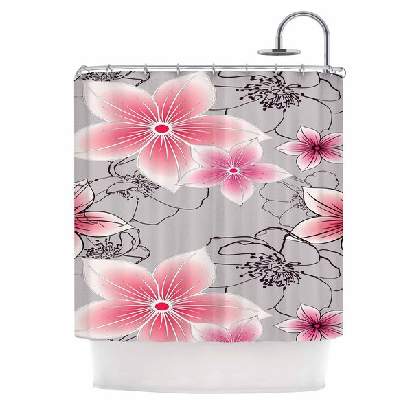 KESS InHouse Alison Coxon Grey And Pink Floral Grey Pink Shower Curtain (69x70)
