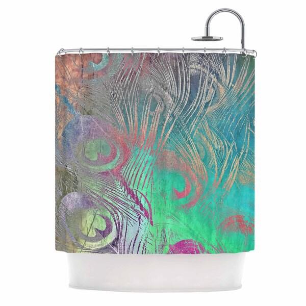 KESS InHouse Alison Coxon Indian Summer Purple Teal Abstract Shower Curtain (69x70)