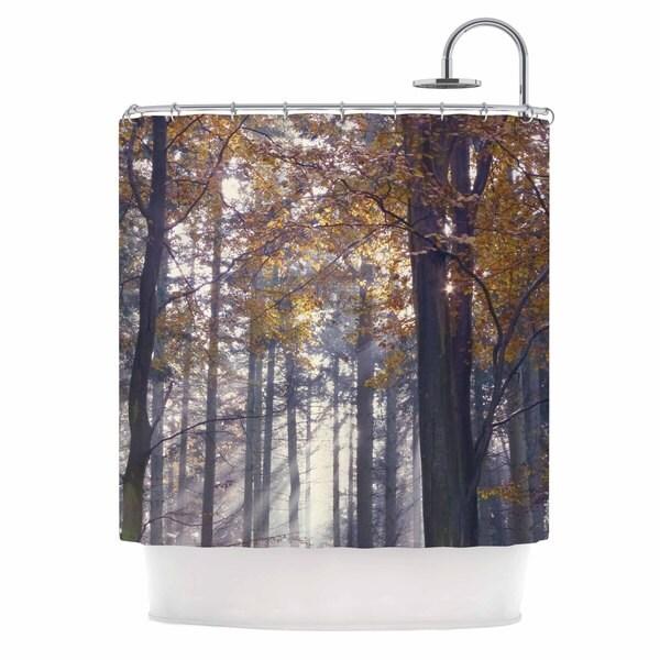 KESS InHouse Alison Coxon Autumn Sunbeams Trees Photography Shower Curtain (69x70)