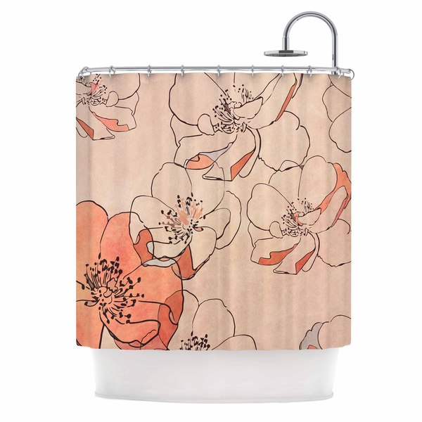 KESS InHouse Alison Coxon Painted Wild Roses Coral Floral Shower Curtain (69x70)