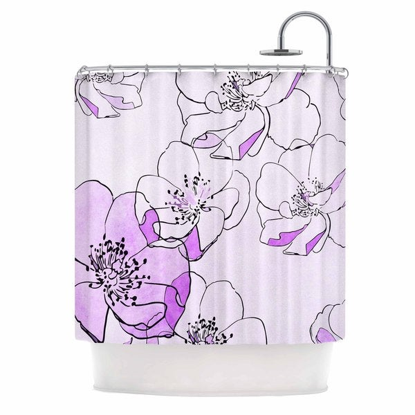 "KESS InHouse Alison Coxon ""Painted Wild Roses Purple"" Pink Floral Shower Curtain (69x70) - 69 x 70"