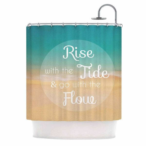 KESS InHouse Alison Coxon Rise With The Tide Teal Brown Shower Curtain (69x70)