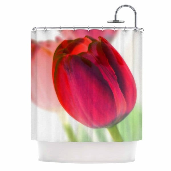 KESS InHouse Alison Coxon Tulips Red White Shower Curtain (69x70)