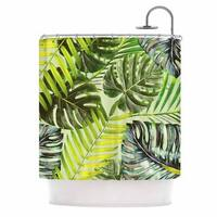 KESS InHouse Alison Coxon Jungle Green Green Yellow Shower Curtain (69x70)