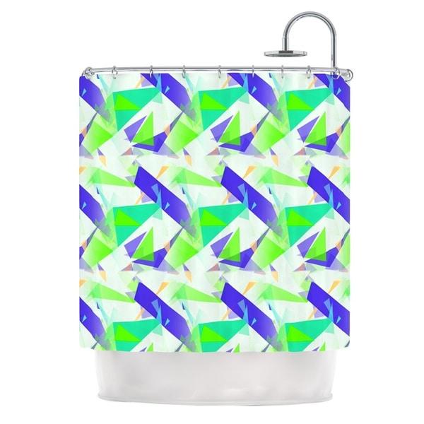 KESS InHouse Alison Coxon Confetti Triangles Blue Green Teal Shower Curtain (69x70)