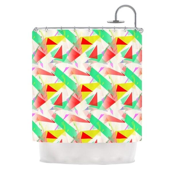 KESS InHouse Alison Coxon Confetti Triangles Red Green Red Shower Curtain (69x70)