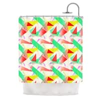 KESS InHouse Alison Coxon Confetti Triangles Red Green Red Shower Curtain (69x70)