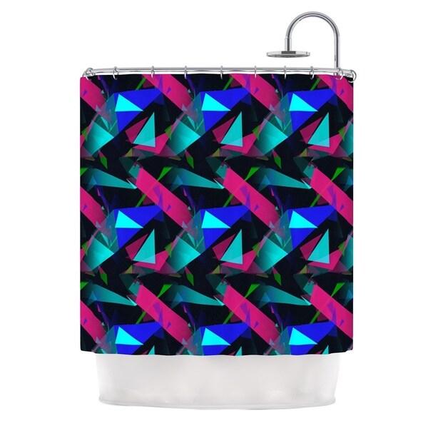 KESS InHouse Alison Coxon Confetti Triangles Dark Magenta Blue Shower Curtain (69x70)