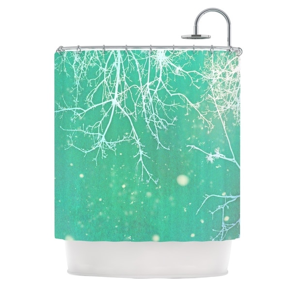 KESS InHouse Alison Coxon White Branches Teal Shower Curtain (69x70)