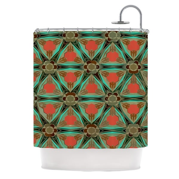 KESS InHouse Alison Coxon Moorish Earth Teal Orange Shower Curtain (69x70)