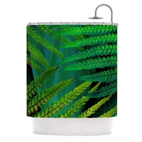 KESS InHouse Alison Coxon Forest Fern Green Plant Shower Curtain (69x70)
