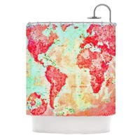 KESS InHouse Alison Coxon Oh The Places We'll Go World Map Shower Curtain (69x70)