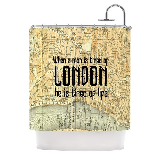 KESS InHouse Alison Coxon London Type Map Shower Curtain (69x70)