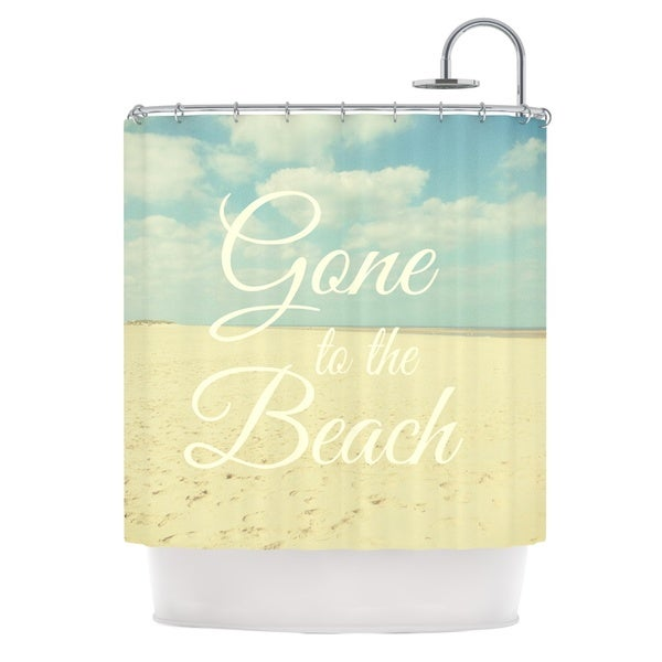 KESS InHouse Alison Coxon Gone To The Beach Tan Blue Shower Curtain (69x70)
