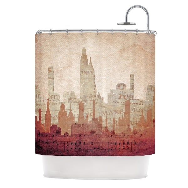 KESS InHouse Alison Coxon City Warm Tan Shower Curtain (69x70)