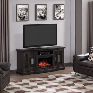 "Grand TV Stand for TVs up to 80"" with 26"" Infrared Quartz Electric Fireplace, Espresso Pine"