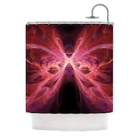 KESS InHouse Alison Coxon Butterfly Red Red Pink Shower Curtain (69x70)