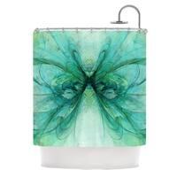 KESS InHouse Alison Coxon Butterfly Blue Green Black Shower Curtain (69x70)