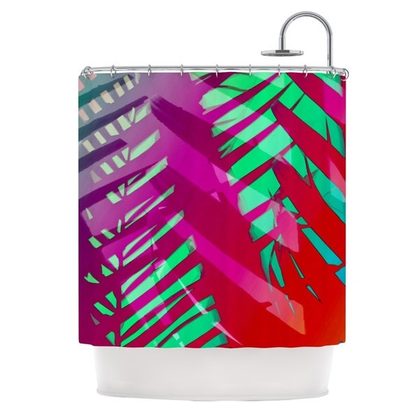 KESS InHouse Alison Coxon Hot Tropical Pink Red Shower Curtain (69x70)