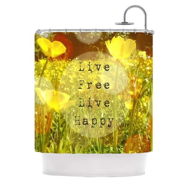 KESS InHouse Alison Coxon Live Free Yellow Green Shower Curtain (69x70)
