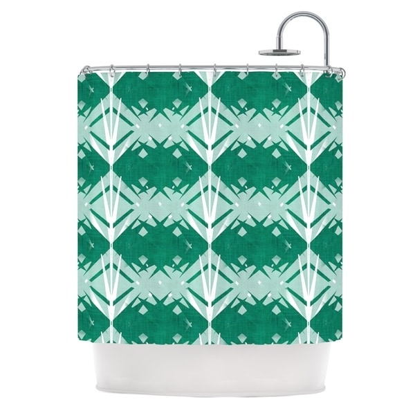 KESS InHouse Alison Coxon Diamond Teal White Shower Curtain (69x70)