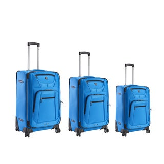 Ful Sequential 3-piece Cobalt Blue Expandable Spinner Upright Luggage Set