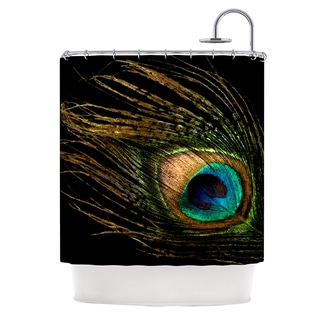 KESS InHouse Alison Coxon Peacock Black Shower Curtain (69x70)
