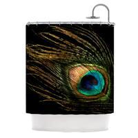 KESS InHouse Alison Coxon Peacock Black Shower Curtain (69x70)