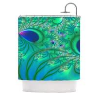 KESS InHouse Alison Coxon Fractal Turquoise Shower Curtain (69x70)
