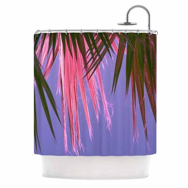 KESS InHouse Ann Barnes Neon Jungle Purple Green Shower Curtain (69x70)