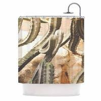 KESS InHouse Ann Barnes Cactus Jungle Green Beige Shower Curtain (69x70)
