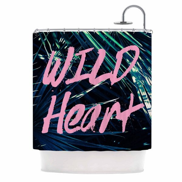 KESS InHouse Ann Barnes Wild Heart 1 Pink Green Shower Curtain (69x70)