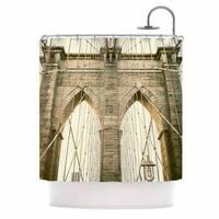 KESS InHouse Ann Barnes Brooklyn Bridge Sunset Gold Photography Shower Curtain (69x70)