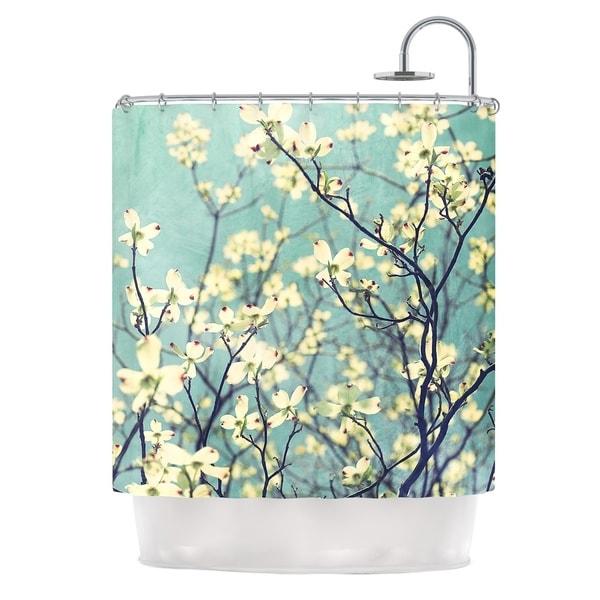 KESS InHouse Ann Barnes Pure Teal Floral Shower Curtain (69x70)