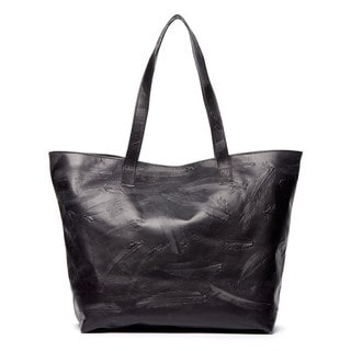 Viva Bags Embossed Feather Print Distressed Leather Tote Bag