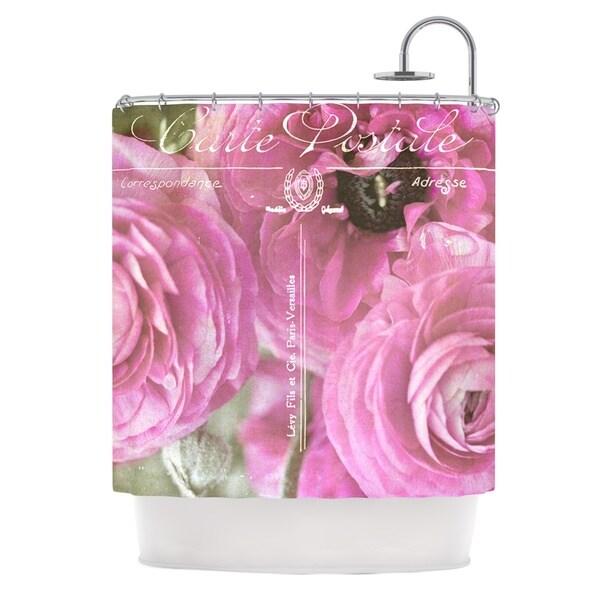 KESS InHouse Ann Barnes Paris Postcard Pink Flowers Shower Curtain (69x70)