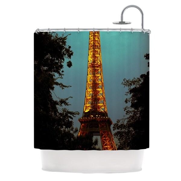 KESS InHouse Ann Barnes Tour Eiffel Blue Gold Shower Curtain (69x70)