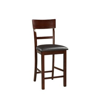 Ansel Rose Brown Wood and Leatherette Counter-height Chairs (Set of 2)